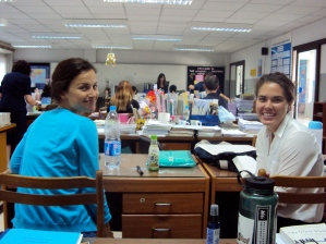 Caitlin and Cash in the Foreign Language Department office, before our first classes!