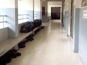 Backpacks and Mary Janes, outside the 3rd floor classrooms.