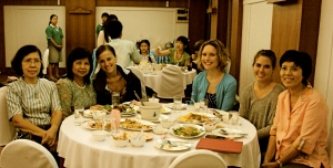 Welcome dinner, with our Thai moms. Kanchana, Tim, Caitlin, me, Cash, and Preeda.