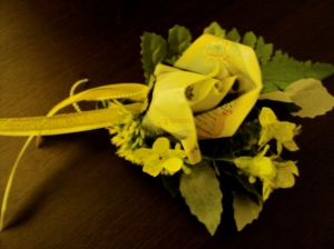 A corsage made of Baht!