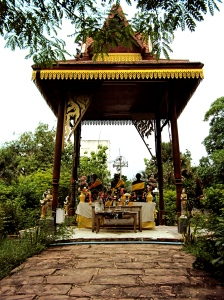 Turning right off of the main street in Suphan, three monk statues sit peacefully in a pagoda.