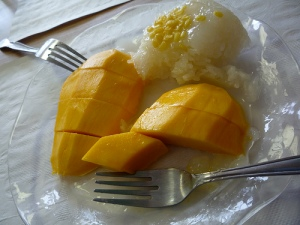 Mango and sticky rice. The MOST delicious dessert.