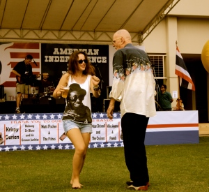 Caitlin does a little two step with an American fellow.