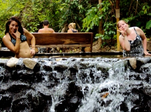 Silly girls in the hot springs. (No steam, since it's already warm/humid out, but they were hot - about 35 degrees Celsius!)