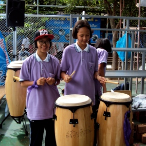 At the very end of the day. Two of my favorite kiddos hanging out with the drums.