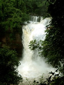 "Haew Suwat waterfall. You may recognize this, in its non-monsoon season form (much smaller), from the movie ""The Beach."""