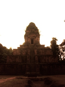 A temple stands alone in Angkor Thom.