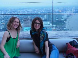 At the top of the Lebua Hotel, SkyBar. Kate had whiskey with a rose petal ice cube. FAB.